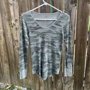 Free People camo thermal long sleeve shirt